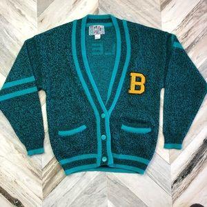 Bugle Boy Vintage Cardigan Sweater Teal Medium